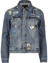 River Island Blue Wash Badge Western Denim Jacket