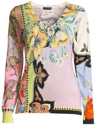 Etro Silk & Cashmere Blend Floral V-Neck Sweater