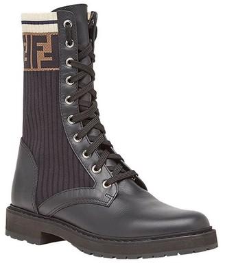 Fendi Brown Logo Print Lace-up Boots