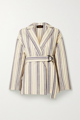 Loro Piana Belted Striped Cotton-blend Jacket - Ecru