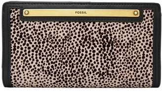 Fossil Liza Slim Bifold Wallet White Cheetah