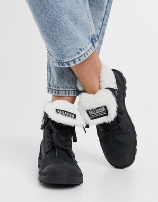 Palladium Baggy fluff lined hiker boots in black