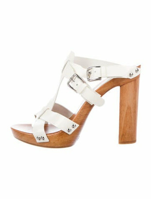 Dolce & Gabbana Patent Leather T-Strap Sandals White