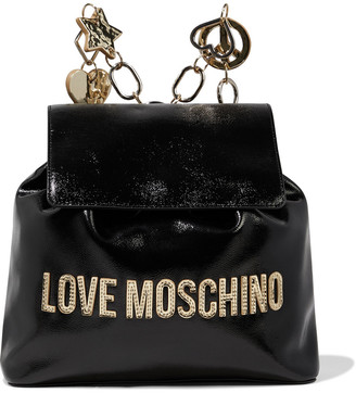 Love Moschino Logo-appliqued Faux Textured-leather Backpack