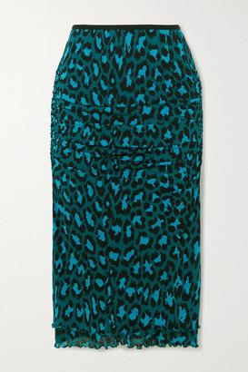 Diane von Furstenberg Elaine Ruched Leopard-print Stretch-jersey Midi Skirt - Turquoise