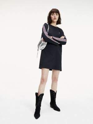 Tommy Hilfiger Tape Detail Long Sleeve T-Shirt Dress