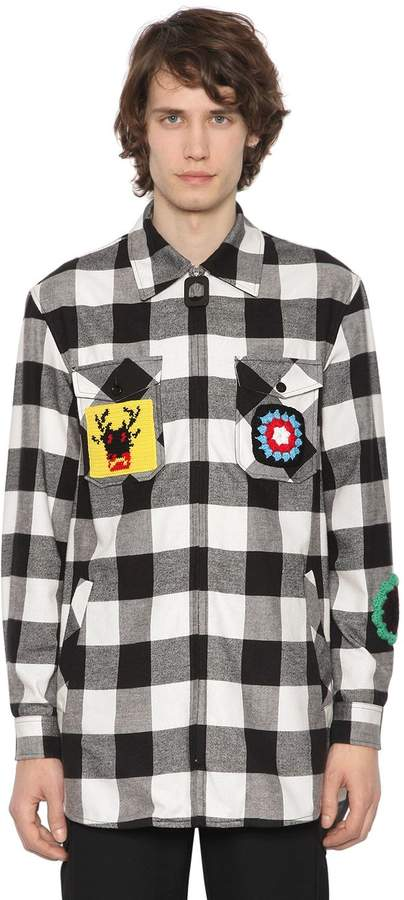 J.W.Anderson Zip-Up Flannel Shirt W/ Crochet Patches