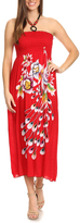 Red Floral Beaded Silk-Blend Halter Dress - Plus Too