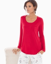 Soma Intimates Long Sleeve Satin Pocket Pajama Tee Ruby
