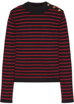 RED Valentino Tulle-paneled Striped Cotton Sweater