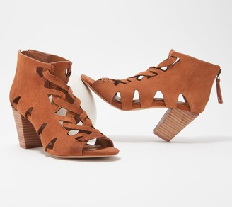 Zodiac Leather Cut-Out Back-Zip Heeled Sandals - Camila