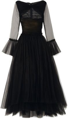 KHAITE Jean Cutout Tulle Maxi Dress