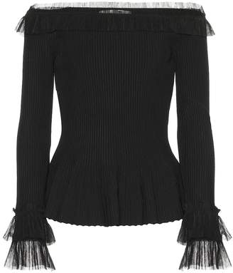 Jonathan Simkhai Tulle-trimmed ribbed-knit top