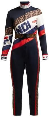 Fendi Mania Logo Pique Jersey Jumpsuit - Womens - Navy Multi