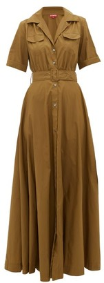 STAUD Millie Belted Recycled-shell Maxi Shirtdress - Womens - Khaki