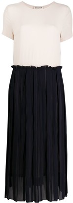 Semi-Couture Pleated Skirt Side Slit Dress