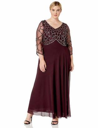 J Kara Women's Plus Size 3/4 Sleeve Geo Beaded Gown
