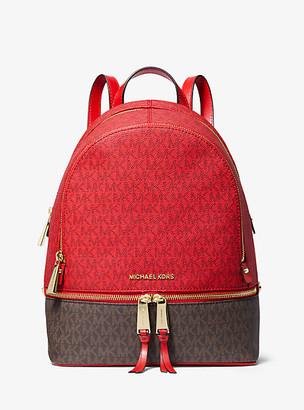 MICHAEL Michael Kors MK Rhea Medium Two-Tone Logo and Leather Backpack - Brt Red Mlti - Michael Kors