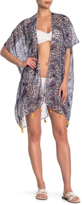 Pool To Party Paisley Tassel Hem Kimono Cover-Up