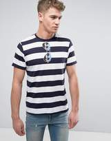 Brave Soul Striped T-Shirt With Sunglasses Print