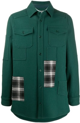 Off-White Check Patchwork Shirt Jacket