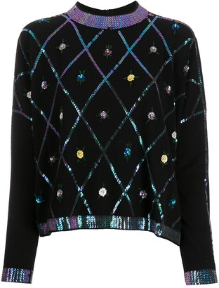 Semi-Couture Beaded Flower Rib-Trimmed Jumper