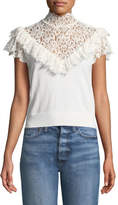 Alice + Olivia Beth Lace-Yoke Ruffle Top