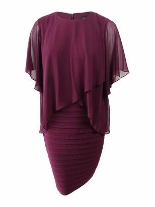 Betsy & Adam Women's Short ITY Shutter Overlay Dress