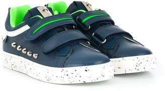 Cesare Paciotti Kids Touch Strap Studded Sneakers