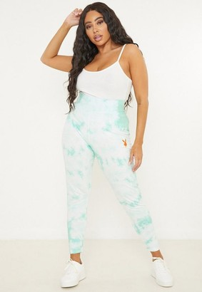 Missguided Playboy X Plus Size Mint Tie Dye Leggings