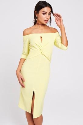 Paper Dolls Montana Lemon Twist-Front Bardot Dress