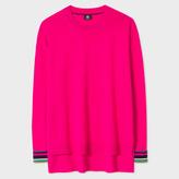 Paul Smith Women's Oversized Fuchsia Wool Sweater With 'Cycle Stripe' Cuffs