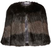 Gina Bacconi Subtle Stripe Faux Fur Cape, Multi