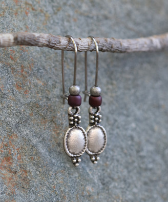 Boho Treasures By Wise Creations Boho Treasures by Wise Creations Women's Earrings - Plum & Silvertone Oval Drop Earrings