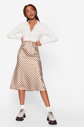 Nasty Gal Womens Gingham a Moment Satin Midi Skirt - Choc Brown