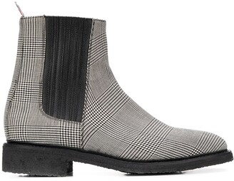 Thom Browne houndstooth check Chelsea boots