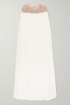 Marchesa Cape-effect Embellished Tulle And Crepe Gown - Ivory