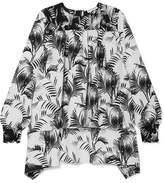 Sonia Rykiel Smocked Printed Hammered-crepe Blouse - White