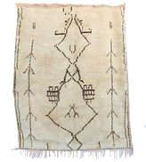 "Indigo&Lavender Vintage Azilal Moroccan Berber Rug, 4'6"" x 5'7"" feet"