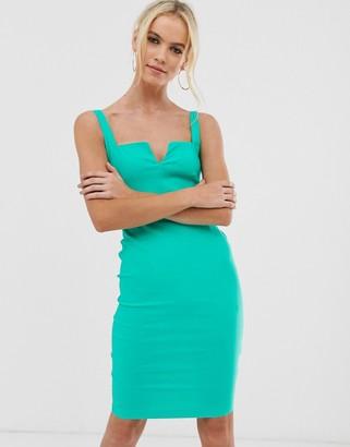 Vesper square neck cut out pencil dress-Green