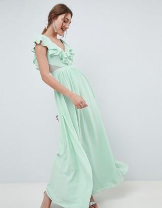 Asos Design DESIGN Frill Wrap Lace Insert Maxi Dress-Green