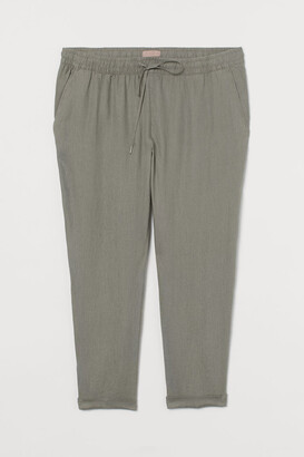 H&M H&M+ Pull-on Linen Pants - Green