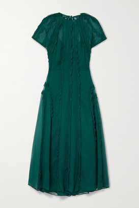 Jason Wu Collection Ruffled Crinkled Silk-chiffon Midi Dress - Dark green