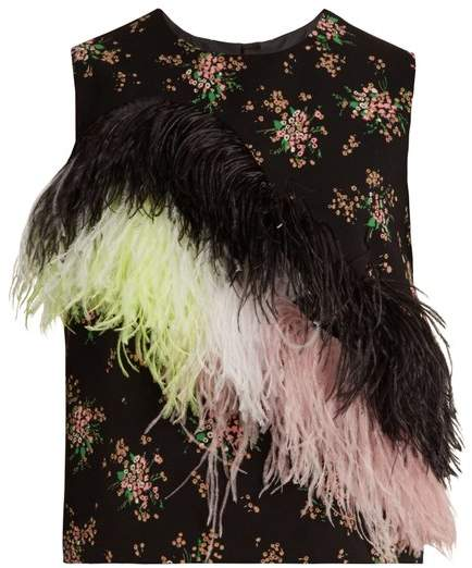 MSGM Feather Embellished Floral Print Crepe Top - Womens - Black