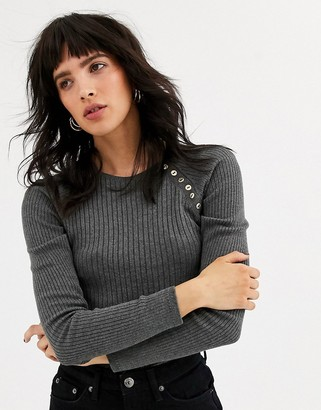 Topshop jumper with button front in grey