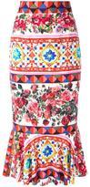 Dolce & Gabbana Mambo print peplum skirt - women - Silk/Spandex/Elastane - 38