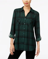NY Collection Plaid Utility Shirt