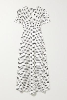 ALEXACHUNG Cutout Embroidered Polka-dot Crepe Maxi Dress - Ivory