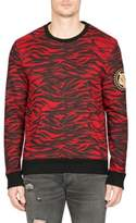 Balmain Tiger Pattern & Badge Sweatshirt