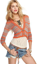 Free People Sweater, Long-Sleeve V-Neck Cropped Striped Cardigan